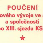 """Titulní strana """"Poučení z krizového vývoje ve straně a společnosti po XIII. sjezdu KSČ"""", 1970"""