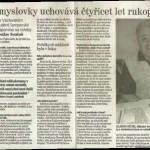 Článek se vzpomínkami Miloslava Svatoně, učitele šumperské průmyslovky