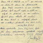 Dobový popis incidentu se sovětskými vojáky, připojen Janův originální podpis