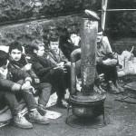Záběr z hladovky před Národním muzeem, Jan Zajíc sedí třetí zleva
